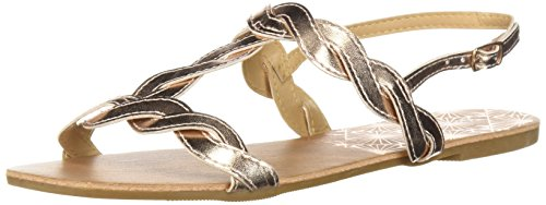Qupid Women's T-Strap Sandal Flat, Rose Gold, 8 M US