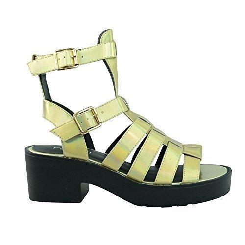 NEW bloque de ajustados para mujer con tacón bajo cortarse para adaptarse a tus zapatos de disfraz de gladiador par hombre y pedrería para mujer tamaño de la funda de Dorado HOLOGRAMA