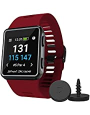 Shot Scope V3 GPS Watch - F/M/B + Hazard Distances - Automatic Shot Tracking - Free Apps - Over 100 Tour Level Stats, Including Strokes Gained - 36,000+ Pre-Loaded Courses - No Subscriptions (Red)