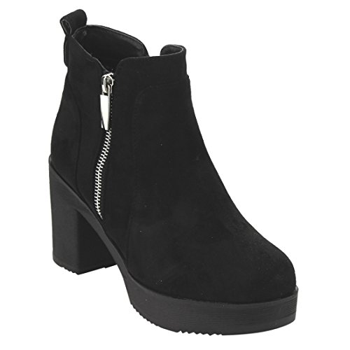 Platform Suede Booties - Beston EJ63 Womens Chunky Heel Platform Faux Suede Ankle Booties With Side Zipper Color Black Size:8.5
