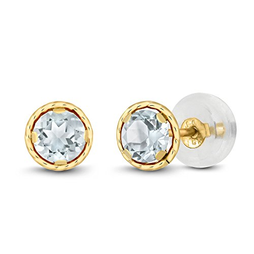 0.44 Ct Round 4mm Sky Blue Aquamarine 14K Yellow Gold Stud Earrings 14k Aquamarine Stud