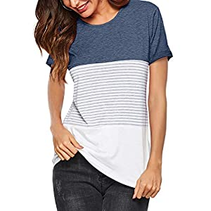Amoretu Women Round Neck Striped Short Sleeve Summer T-Shirts Casual Blouse Tops