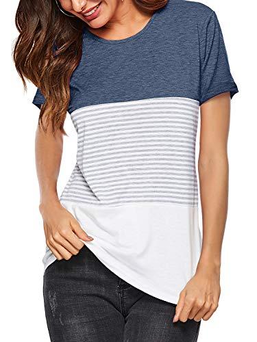 Amoretu Women's Color Block Striped Short Sleeve Tops Summer Blouse T-Shirt Navy XL