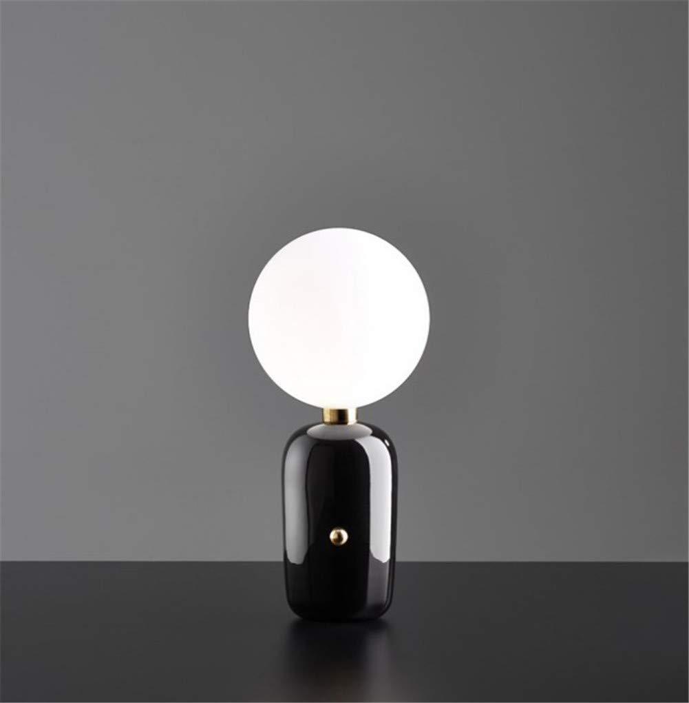 現代のクリエイティブファッションテーブルランプ、ガラス玉装飾ライトランプ、リビングルームのベッドルームベッドサイドテーブルライト111240ボルトAMX40W,Black,S B07S4HR7CR Black S