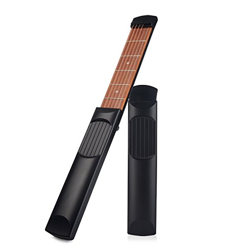 Nanagogo Pocket Guitar Practice Tool Portable Chord Trainer Guitar Finger Exercise & Chords Practice Tool 6 String 6 Fret Black.