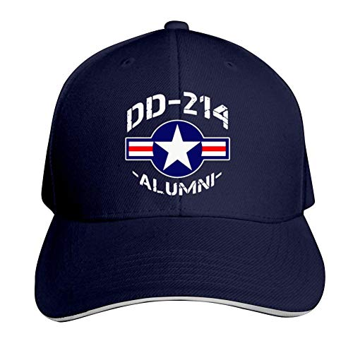 Dd-214 Alumni Air Force Adjustable Baseball Cap, Old Sandwich Cap, Pointed Dad Cap Navy