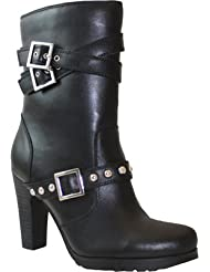 RideTecs Ride Tecs Womens Black 10in Three Buckle Boot Leather Motorcycle