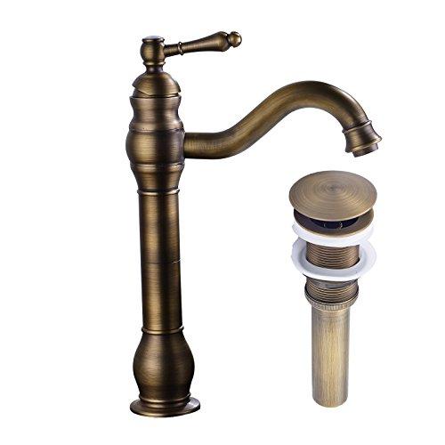 Rozin Antique Brass Countertop Faucet Vessel Tap + Sink Pop up Drain(no Overflow)