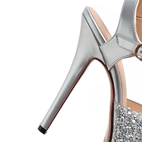 Aiyoumei Donna Cinturino Alla Caviglia Glitter Spuntato Peep Toe Stiletto Tacco Alto Sandali Con Fibbia Eleganti Décolleté Argento