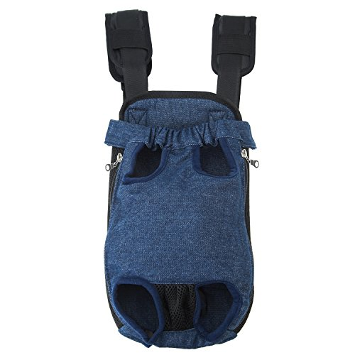 (GEEPET Legs Out Front-Facing Dog Carrier Hands-Free Adjustable Pet Puppy Cat Backpack Carrier for Walking Hiking Bike and Motorcycle (Medium, Denim Blue) )