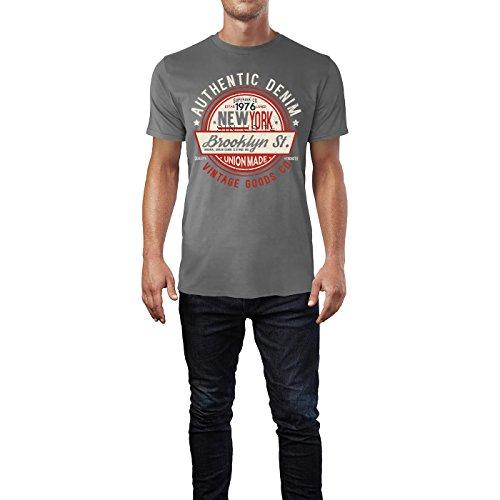 Sinus Art ® Herren T Shirt Authentic Denim 1976 ( Charcoal ) Crewneck Tee with Frontartwork
