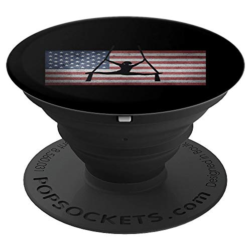 American Flag Silhouette Gymnastics Aerial Silk PopSockets Grip and Stand for Phones and Tablets