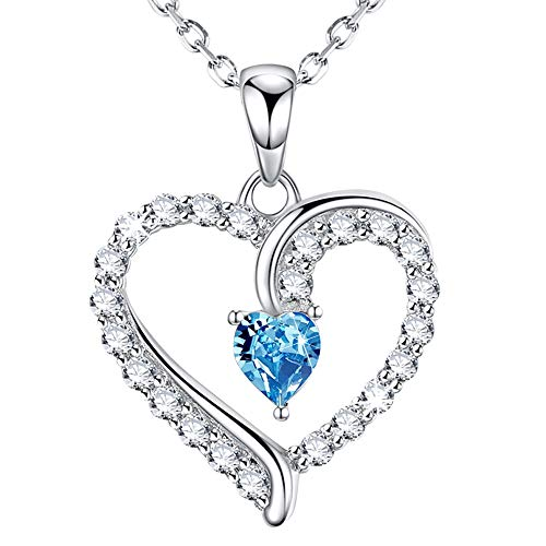 Love Heart Sterling Silver Necklace Jewelry Birthday Gifts for Women Her Blue Pendants Necklace 20 Chain