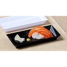 """Zappy 50 ct 2.5"""" x 5"""" Elegant Petite Mini Rectangle Tray Appetizer Dessert Plates - Disposable Hard Plastic Miniature Tasting Sushi Trays Sample Dish Party Plates Black"""