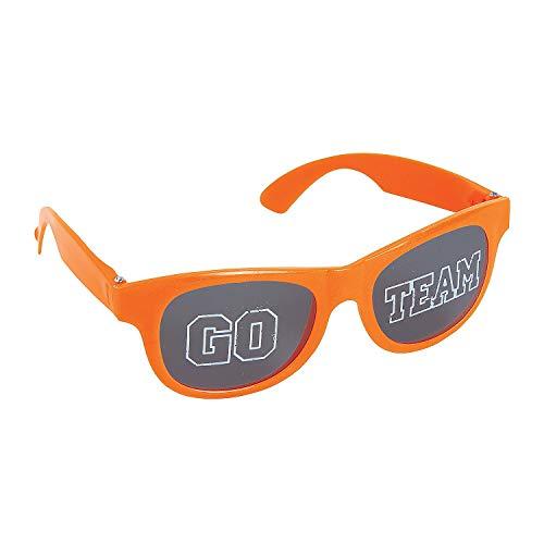 Go Team Go Costume - Fun Express - Orange Go Team Sunglasses 1pc - Apparel Accessories - Eyewear - Novelty Glasses - 1 Piece