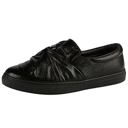 ByPublicDemand Paisley Womens Flats Slip On Pumps Trainers Ladies Twist Bow Plimsolls Shoes New Black Metallic uIC0HH1