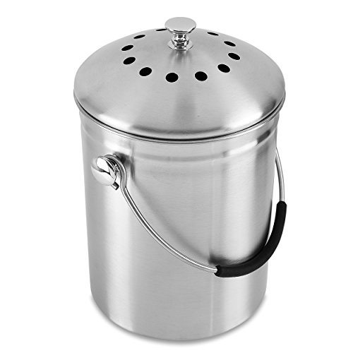 Gold Star Kitchens Compost Bin - Premium Quality SAE304 Surgical Grade Stainless Steel Pail - 1.3 Gal - Double Carbon Filters Eliminate Odors - Deluxe Silicone Handle - Includes 2 Bonus Filters