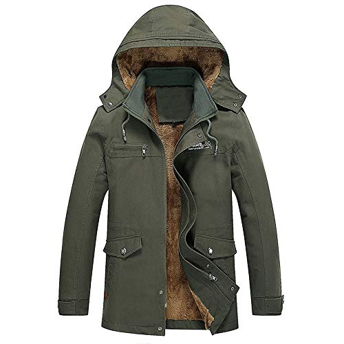 TWGONE Men Winter Casual Hoodie Medium Length Thickening Velvet Cotton Windbreaker Coat(X-Large,ArmyGreen)
