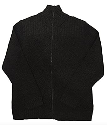 Calvin Klein Cable Knit Ribbed Full Zip Sweater (Large, Charcoal Gray)