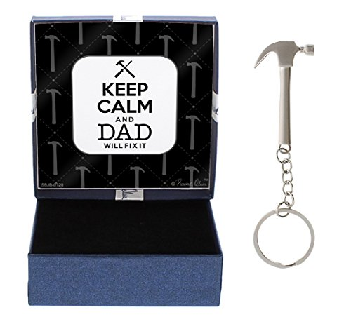 Dad Keep Calm Dad Will Fix It Dad Gift from Daughter Hammer Keychain & Gift Box Bundle ()