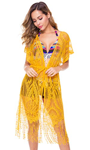 Costyleen Summer Womens Beach Wear Cover up Swimwear Bikini Lace Floral Long Maxi Beach Dress Yellow XXL