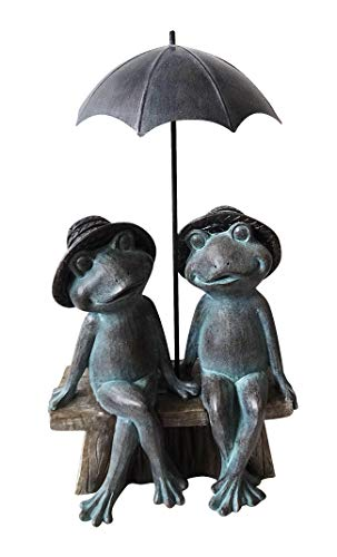 Alpine Corporation USA1412 Sitting Frog Couple Under Umbrella Statue, 16 Inch Tall, Grey ()