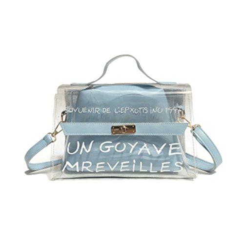 Dabixx da donna in PVC trasparente a spalla Crossbody borse estate handbag-brown, Green, 24x10x17cm/9.45x3.94x6.69 Blue