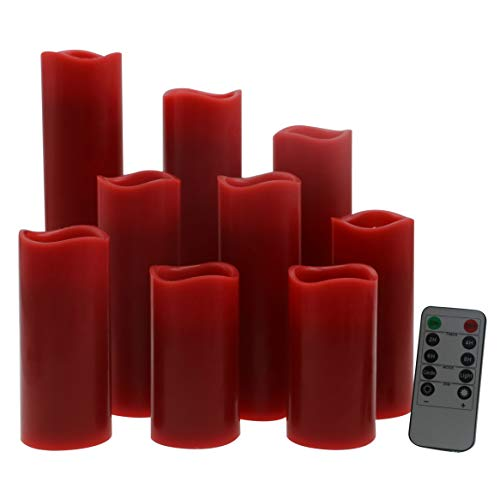 Red Home Decor - Kitch Aroma Led Flickering Flameless Candles Set of 9(H 4
