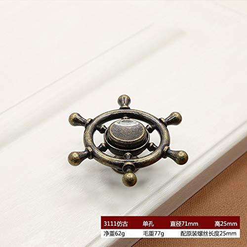 Zinc Alloy Fingertip Gyro Handle Wardrobe Drawer Cabinet Door Rotating Art Single Hole 3111 Antique