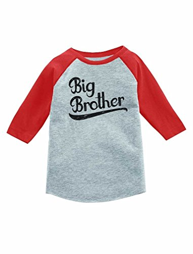 Gift for Big Brother Siblings Boys 3/4 Sleeve Baseball Jersey Toddler Shirt 3T Red
