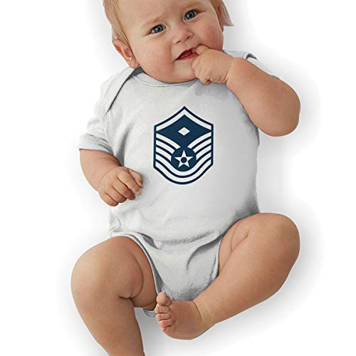 Air Force Master Sergeant 1st SGT Diamond Rank Funny Baby Onesies Novelty Toddler Infant Bodysuits Short Sleeve 18M White
