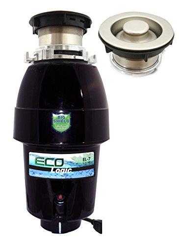Eco Logic EL-7-DS-BN 7 Designer Series Food Waste Disposer with Brushed Nickel Sink Flange, 1/2 HP -