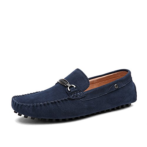Tentoes Mens Suede Driving Loafers Shoes with Fashion Metal Bar (Blue Suede Shoes Bar)