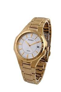 Seiko SGEF64P1 - Reloj analógico de cuarzo para hombre con correa de acero inoxidable, color dorado