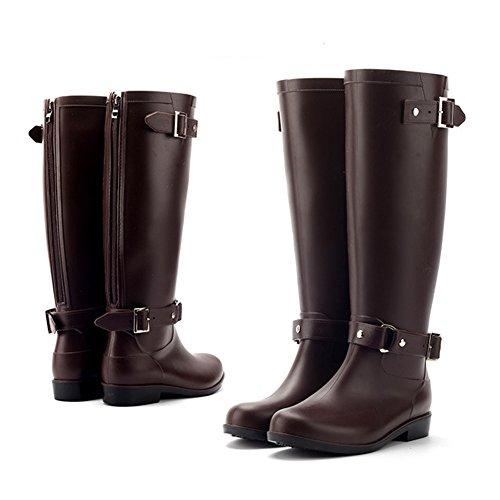 Martin Stivali Rain Breve Stivali Moda Alti Da Boots Minetom Fermaglio Donna Pioggia Impermeabile Stivali Cilindro Slittata Marrone nW8OSzzIXx