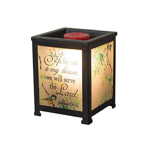 Elanze Designs My House Will Serve Lord Birds Black Metal Electrical Wax Tart & Oil Glass Lantern Warmer