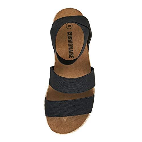 CUSHIONAIRE Women's Mandy Cork Espadrille Wedge Sandal