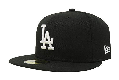 MLB Los Angeles Dodgers Black with White 59FIFTY Fitted Cap, 7 1/4