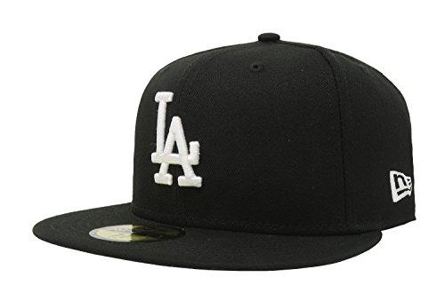 New Era 59fifty Mlb Hats - New Era 59Fifty Hat MLB Basic Los Angeles Dodgers LA Black/White Fitted Baseball Cap (7 3/8)