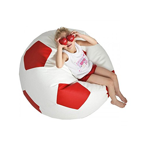 Turbo BeanBags Soccer Ball Style Bean Bag Sofa, 3X-Large, White/Red by Turbo BeanBags