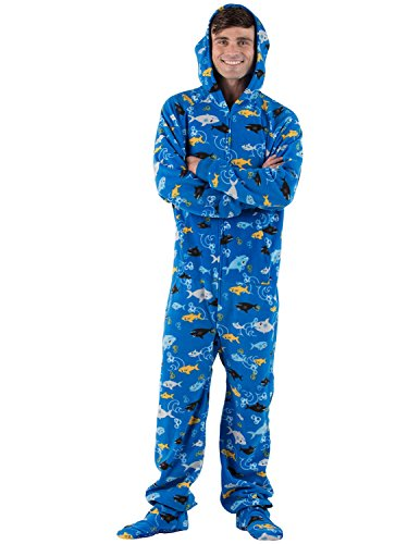 Footed Pajamas Family Matching Shark Frenzy Adult Hoodie Fleece - Small (Shark Footed Pajamas Adult)