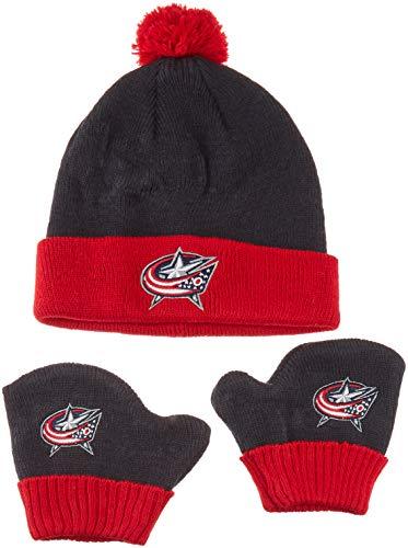 (OTS NHL Columbus Blue Jackets Pow Knit Cap & Mittens Set, Navy, Infant )