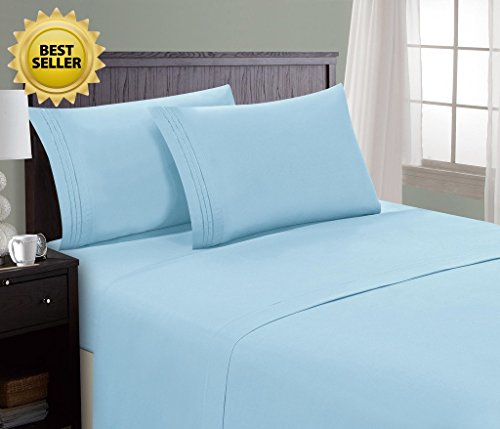 HC COLLECTION Bed Sheet & Pillowcase Set Hotel Luxury 1800 Series Egyptian Quality Bedding Collection! Deep Pocket, Wrinkle & Fade Resistant,Luxurious,Comfortable,Extremely Durable(King, Light Blue)