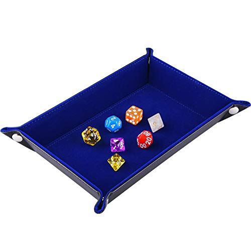 SIQUK Double Sided Dice Tray, Folding Rectangle PU Leather and Dark Blue Velvet Dice Holder for Dungeons and Dragons RPG Dice Gaming D&D and Other Table Games