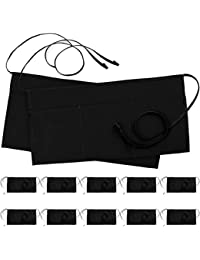 12 Pack 3 Pockets Waitress Apron, Waist Aprons for Home and Kitchen, 24 x 12 Inches, Black