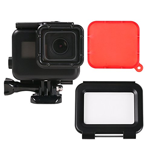 SUREWO 45m Underwater Protective Housing Case Black Waterproof Shell + Touch Backdoor with Red Filter for GoPro Hero 6/5 Black (Case with Touch Screen, Black)