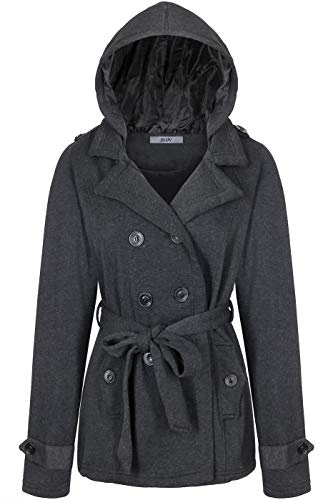 BodiLove Women's Double Breasted Hoodie Short Collared Peacoat w/Belt Charcoal M(JF2648)