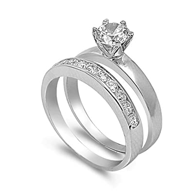 Amazon.com: 4 pcs His and Hers STAINLESS STEEL wedding engagement ring set (Size Mens 10 Womens 5): Anillos De Matrimonio De Oro Blanco: Jewelry