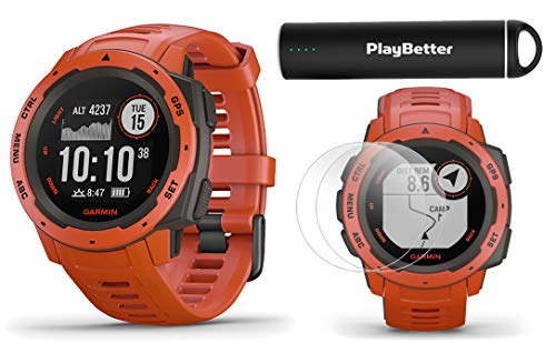 Garmin Instinct (Flame Red) Outdoor GPS Watch Power Bundle | with HD Screen Protector Film Pack & PlayBetter Portable Charger | Rugged, Waterproof | Heart Rate, TrackBack | Ultimate Outdoorsman Watch