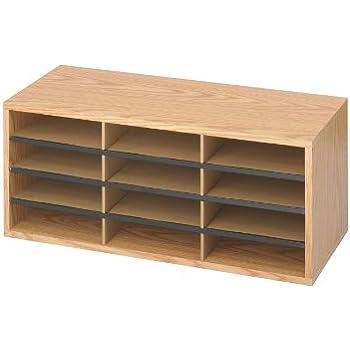 Safco Products 9401MO Literature Organizer Wood/Corrugated, 12 Compartment, Medium Oak